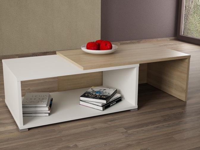 Konferenčný stolík Dron (dub sonoma + biela)