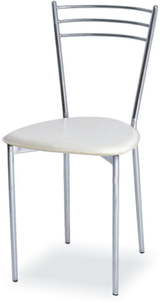 Chrómová stolička, béžová ekokoža/kov, LIANA