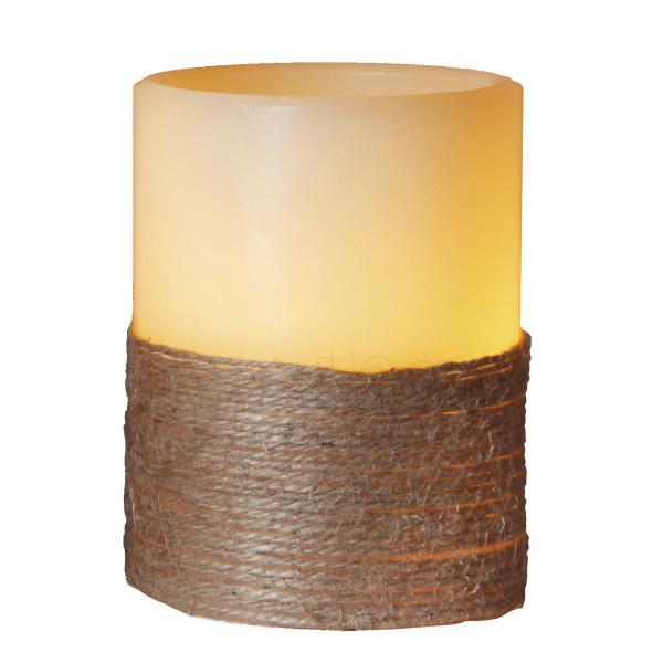 Biela LED sviečka so sisalom, 10 cm