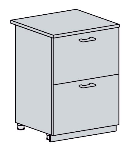 ARTEMIS/VALENCIA dolná skrinka so zásuvkami 60D2S, biela/čierny metalic.