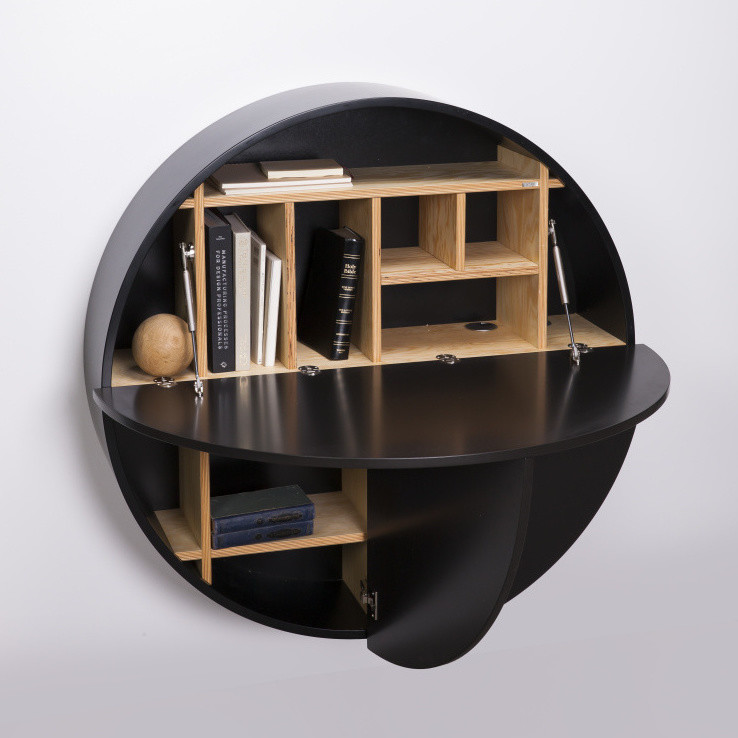 Čierny multifunkčný nástenný stôlEmkoPill