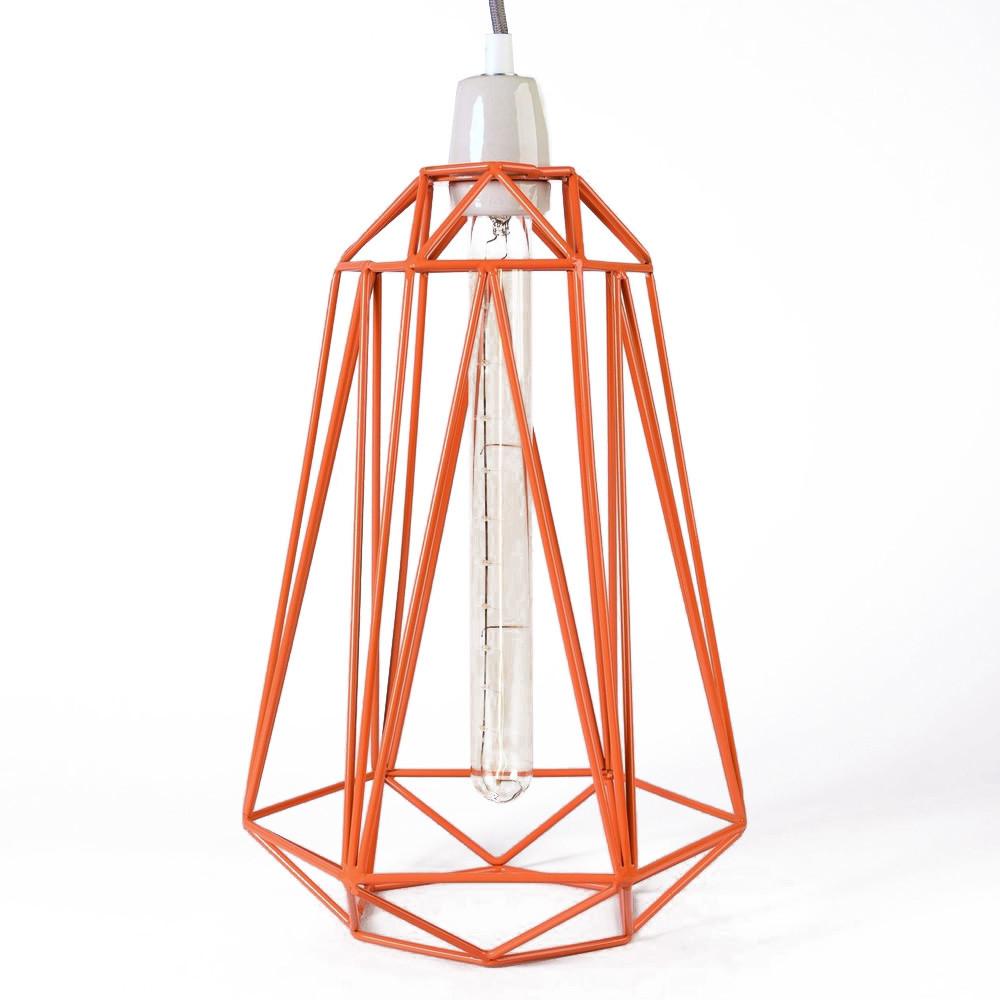 Svetlo s oranžovým tienidlom a sivým káblom Filament Style Diamond #3