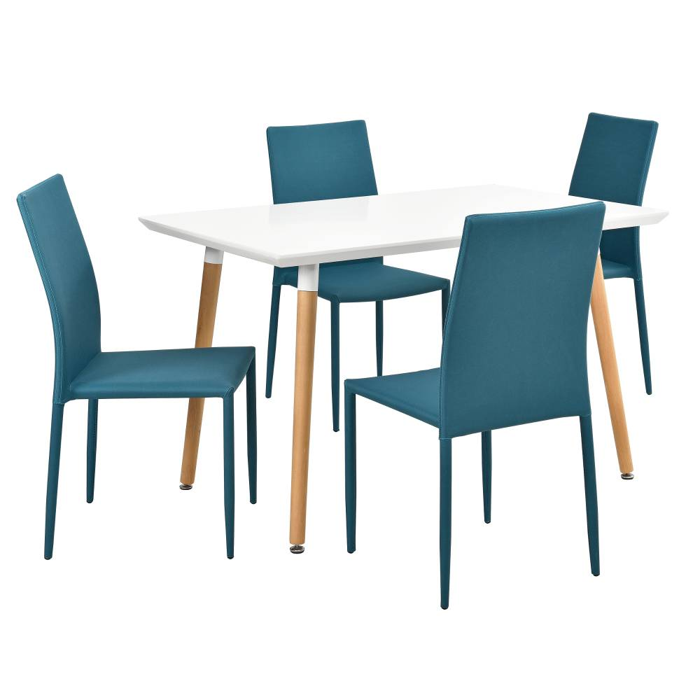 [en.casa]® Dizajnový jedálenský stôl - 120 x 70 cm - so 4 tyrkysovými stoličkami