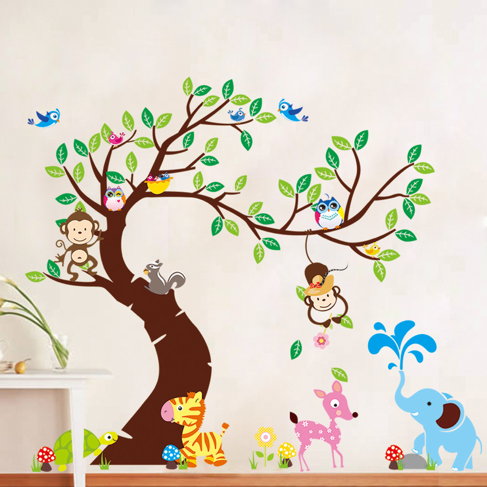 Samolepka Ambiance Tree, Monkeys and Elephant