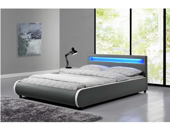 Manželská posteľ 160 cm Dulcea (s roštom a osvetlením)
