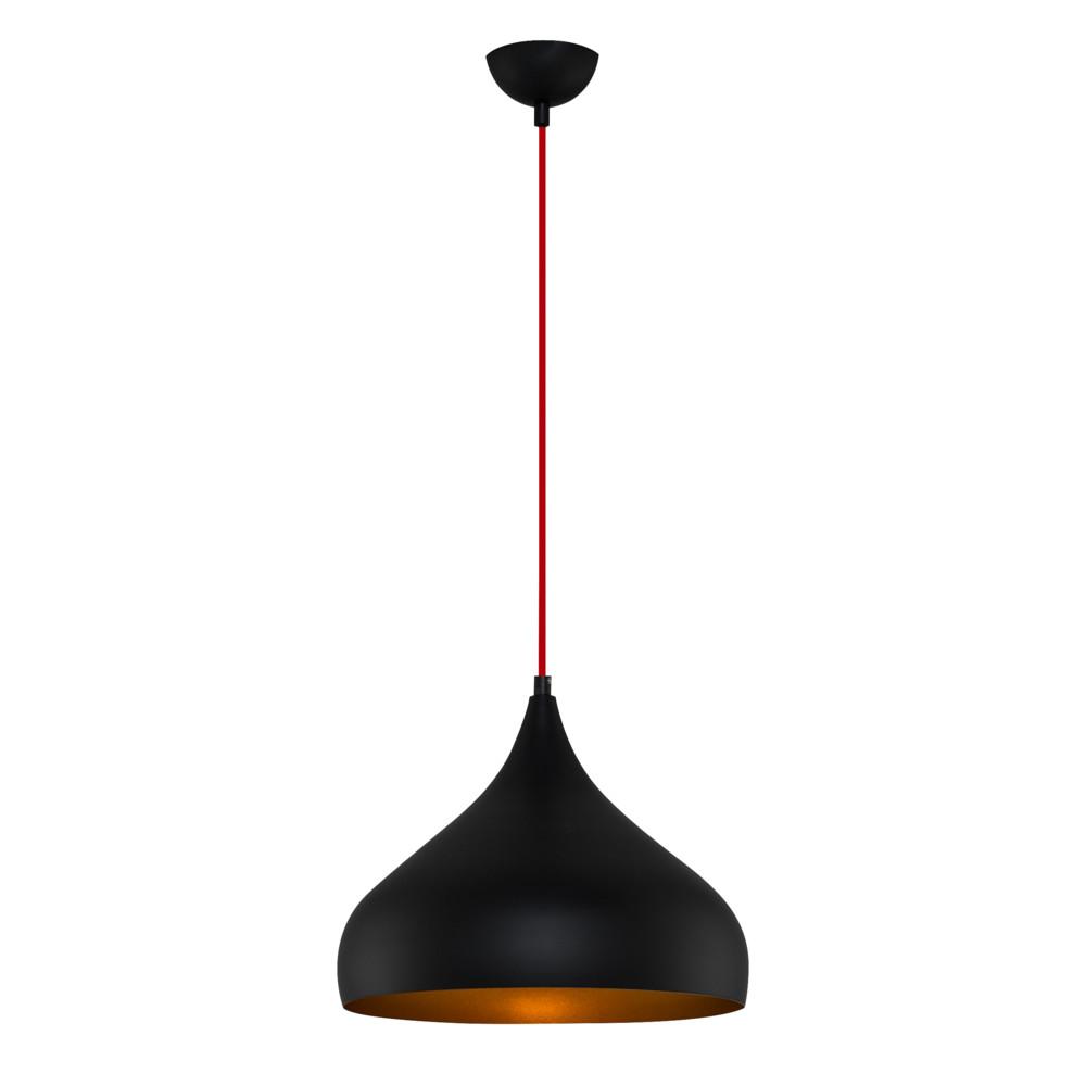 Čierne závesné svietidlo Moises, Ø 35 cm