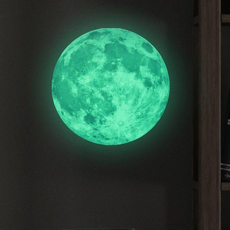 Samolepka svietiaca v tme Ambiance Real Moon, 30 cm
