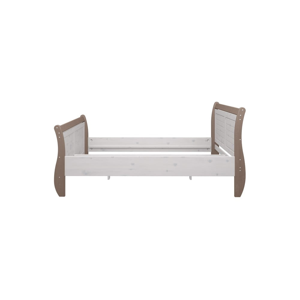 Biela jednolôžková posteľ z borovicového dreva s hnedým rámom Steens Monaco, 140 × 200 cm