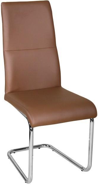 Jedálenská stolička, ekokoža hnedá/chróm, BETINA