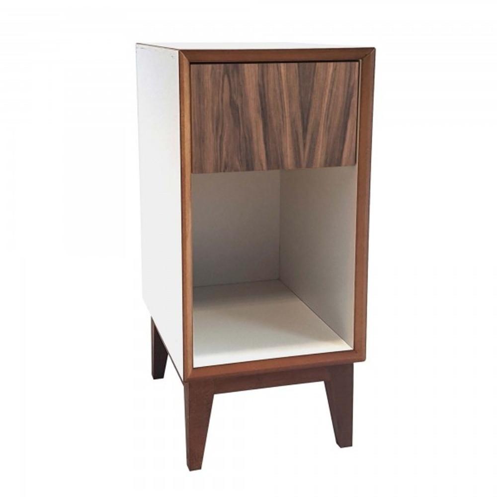 Malý nočný stolík s bielym rámoma hnedou zásuvkou Ragaba PIX