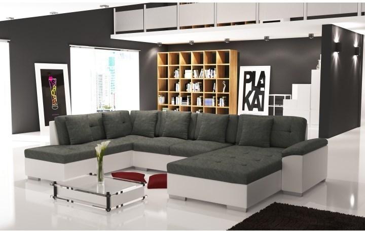 Elegantná sedacia súprava v tvare U, ľavé prevedenie, ekokoža biela / šenil Berlin 01, ALMA