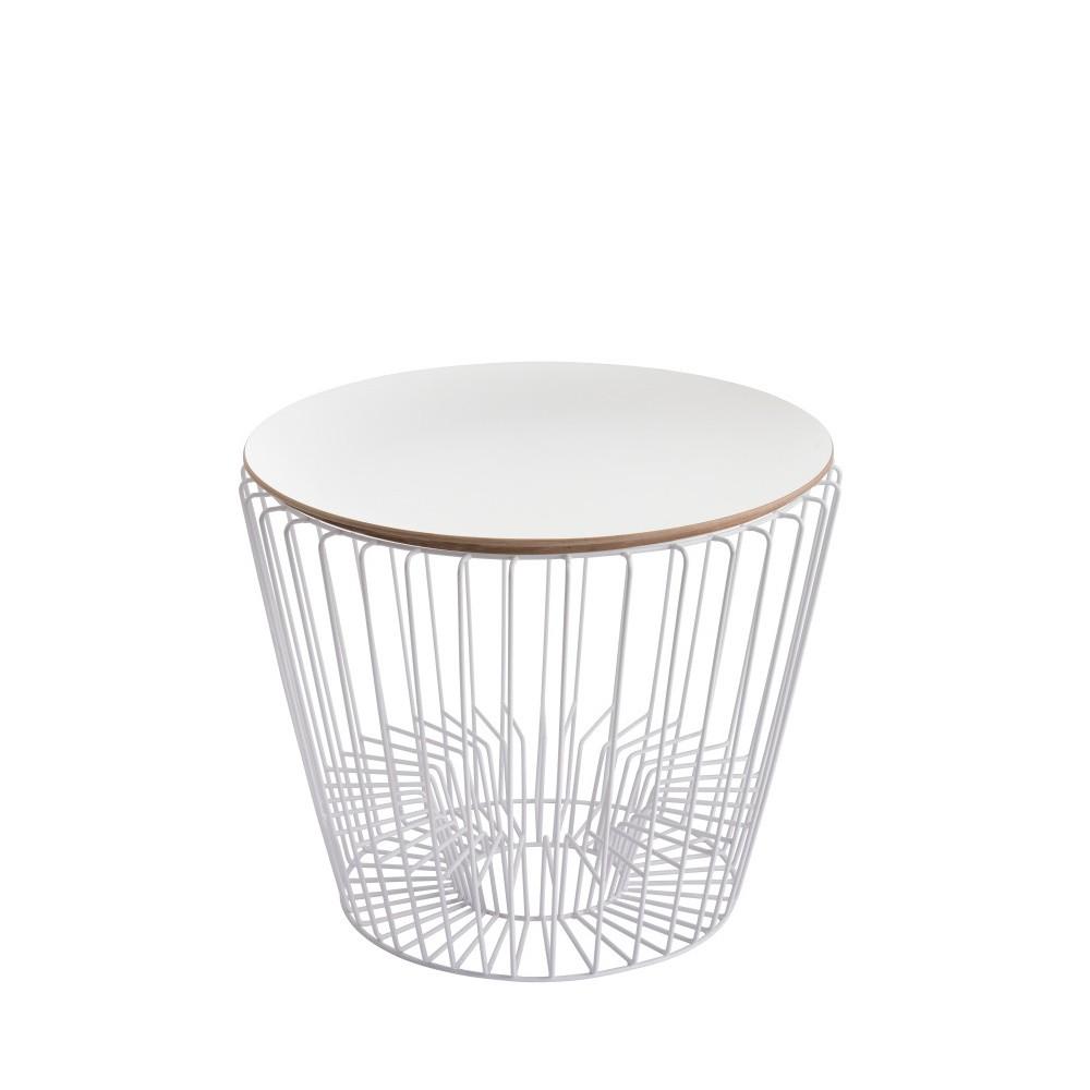 Odkladací stolík z lakovaného kovu s bielou doskou HARTÔ Ernest, Ø50 cm