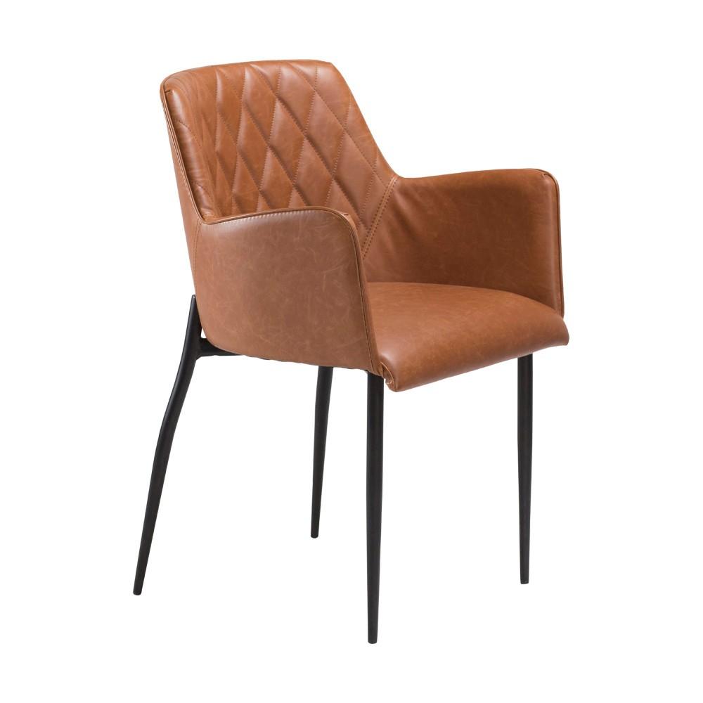 Hnedá jedálenská stolička s opierkami na ruky DAN–FORM Rombo Faux