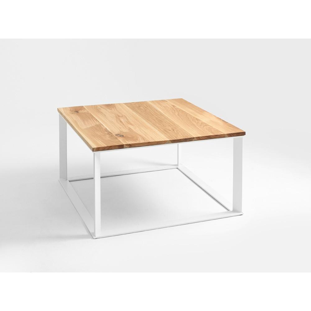 Konferenčný stolík s bielym podnožím a dubovou doskou Custom Form Skaden