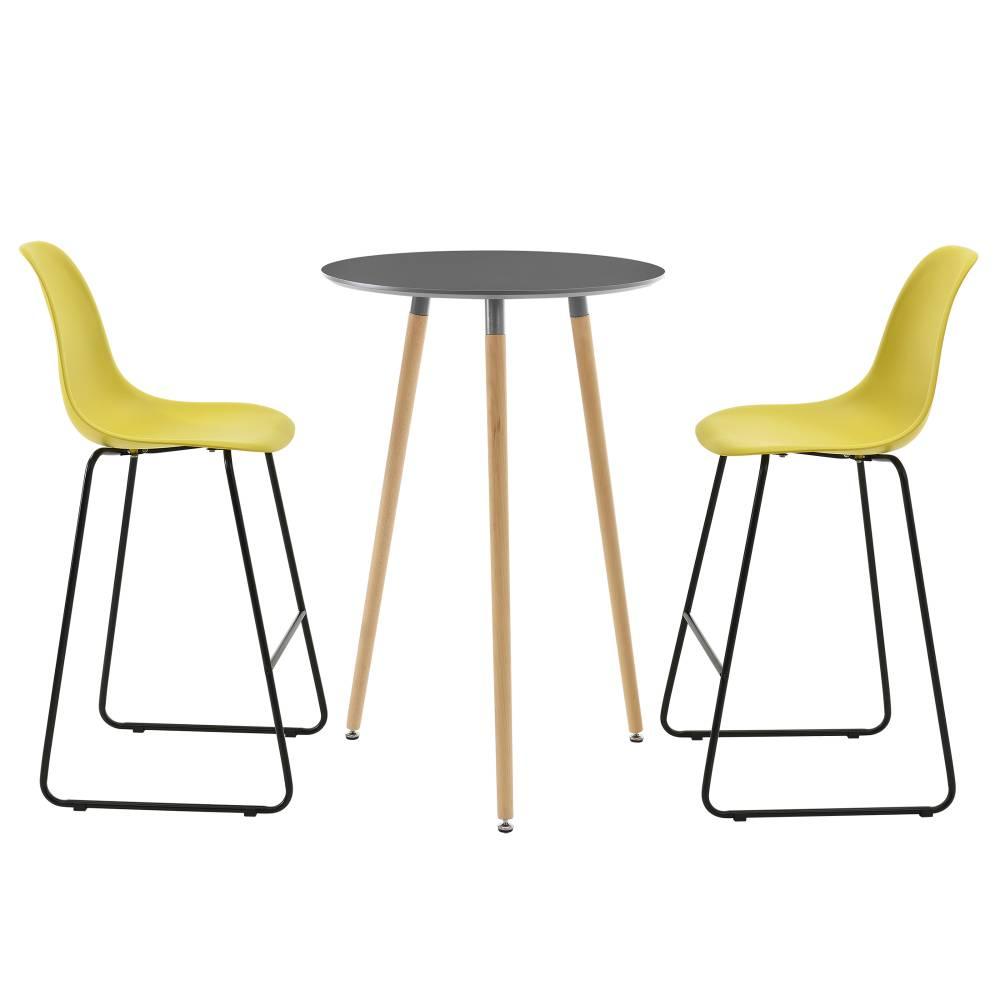 [en.casa]® Okrúhly barový stôl - Ø 70 cm + sada 2 stoličiek - muštárovo žlté