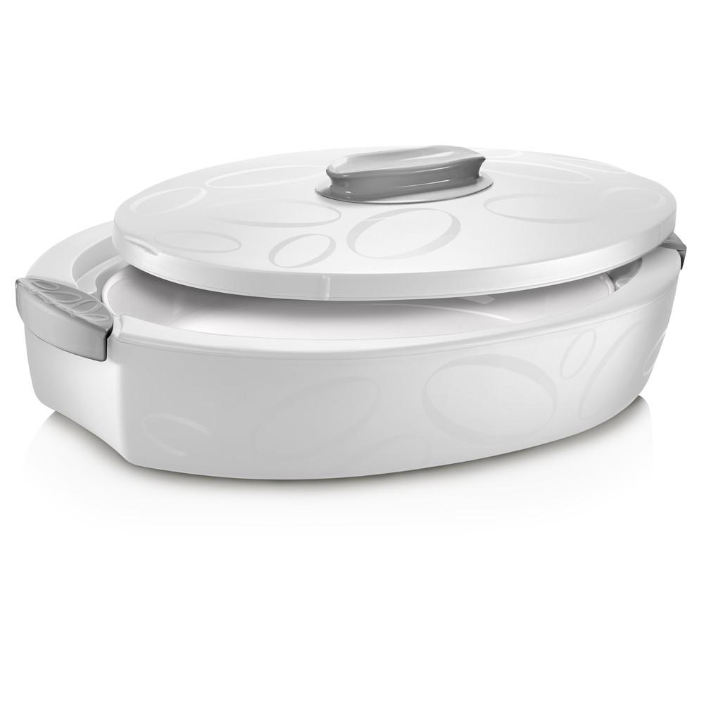 Biely oválný termo box so zapekacou misou Enjoy, 4 l