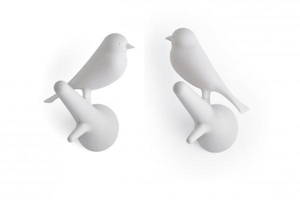 Nástenný vešiak Qualy Hook Sparrow, 2ks, biely-biely