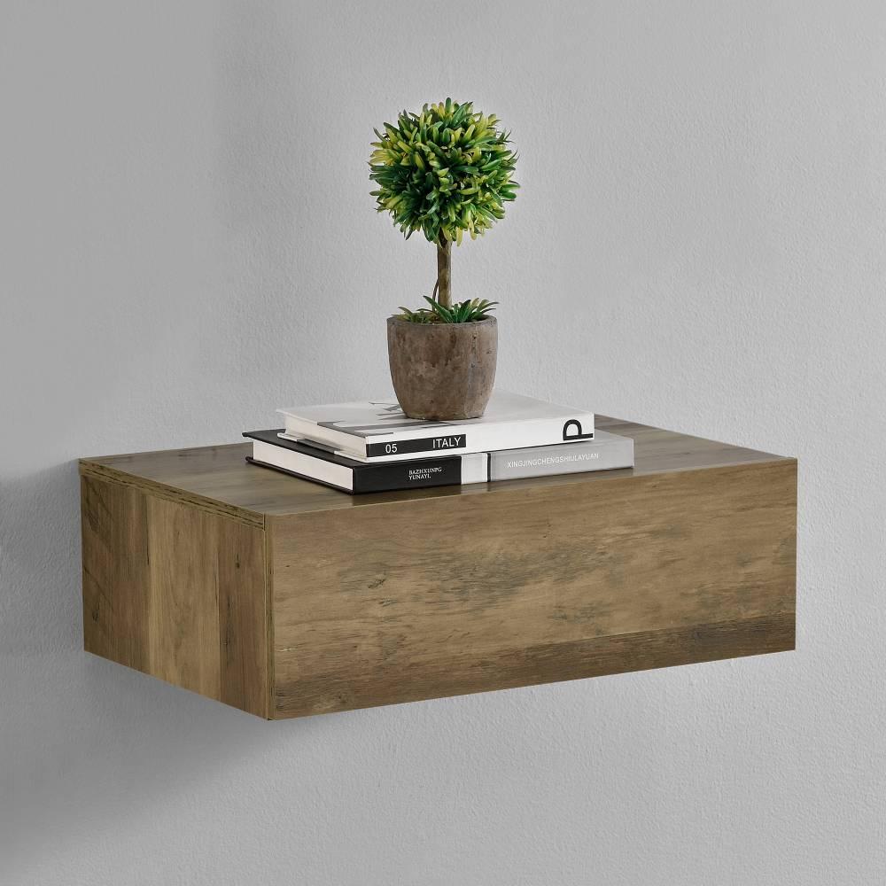 [en.casa]® Nočný stolík na stenu - 46 x 30 x 15 cm - imitácia dreva