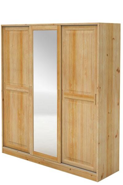 Bradop Skriňa s posuvnými dverami, trojdverová so zrkadlom, masív borovica B024