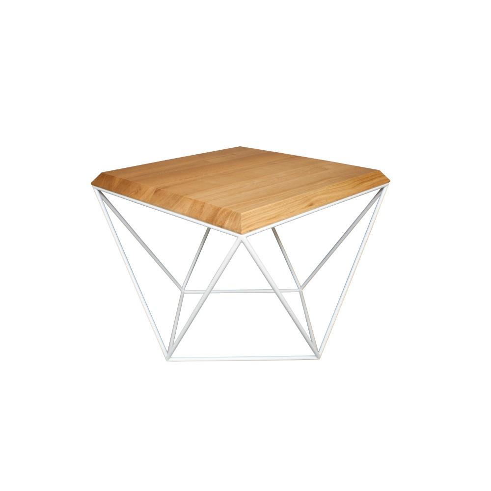 Biely konferenčný stolík s doskou z dubového dreva Take Me HOME Tulip, 53×53cm