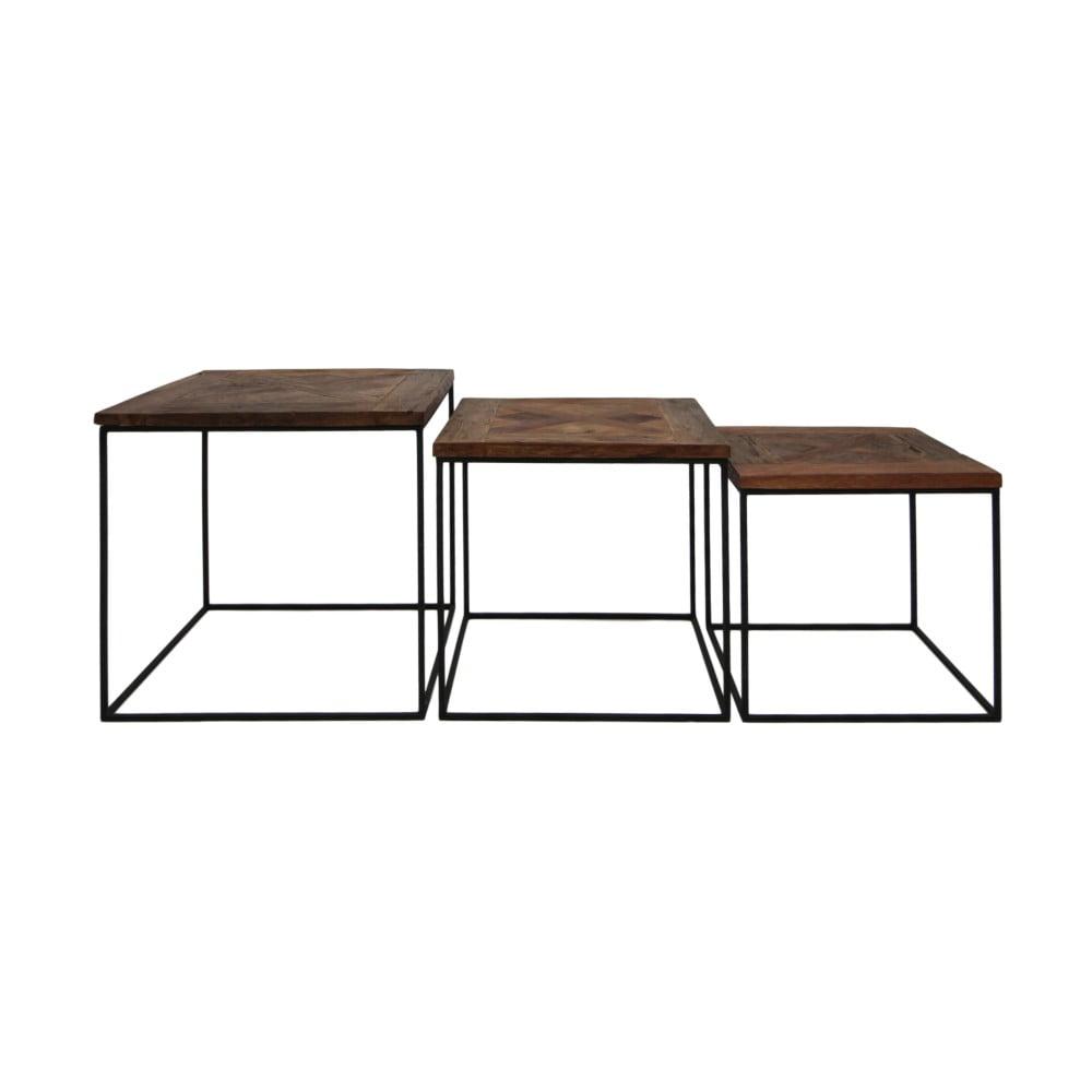 Sada 3 príručných stolíkov z recyklovaného dreva HSM collection Austin
