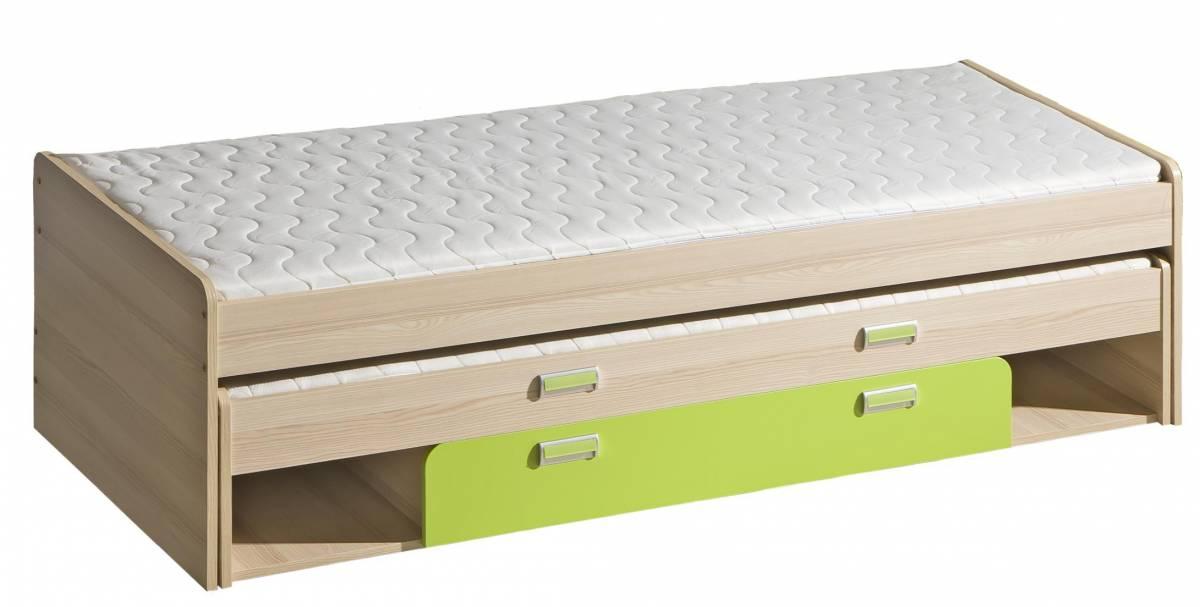 Rozkladacia posteľ 80 cm L16 (s roštami) (zelená)