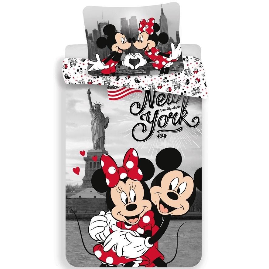 Jerry Fabrics Detské bavlnené obliečky Mickey and Minnie in New York, 140 x 200 cm, 70 x 90 cm