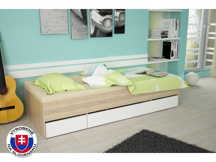 Jednolôžková posteľ 90 cm Matiasi (dub sonoma + biela)