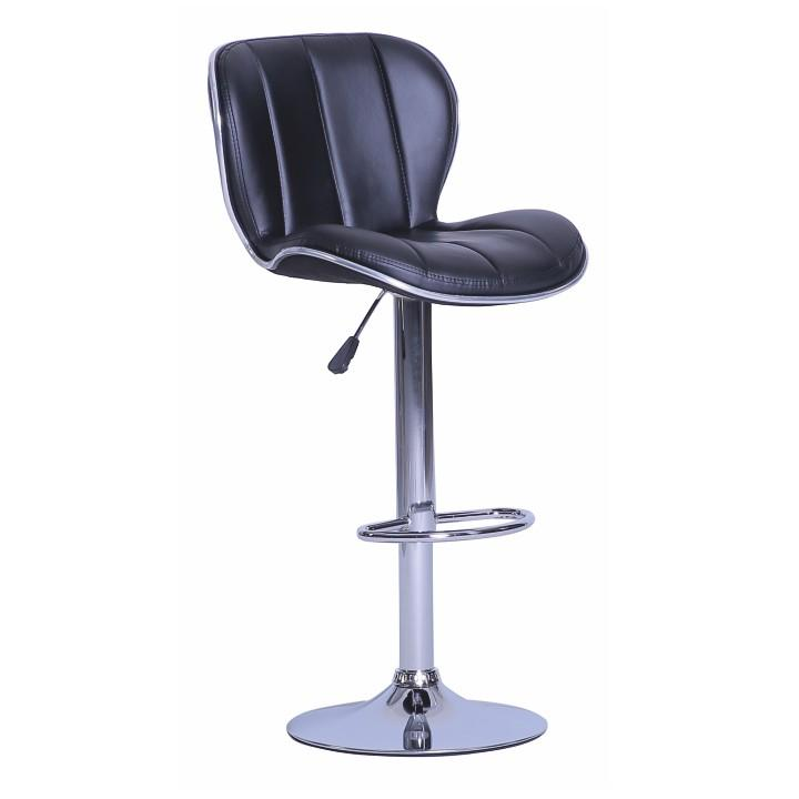 TEMPO KONDELA Barová stolička, ekokoža čierna/chróm DUENA