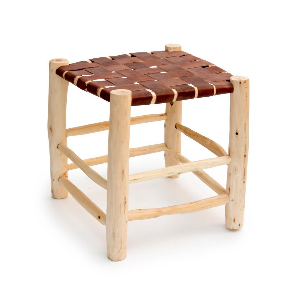 Taburetka z borovicového dreva Surdic Trenzado Piel