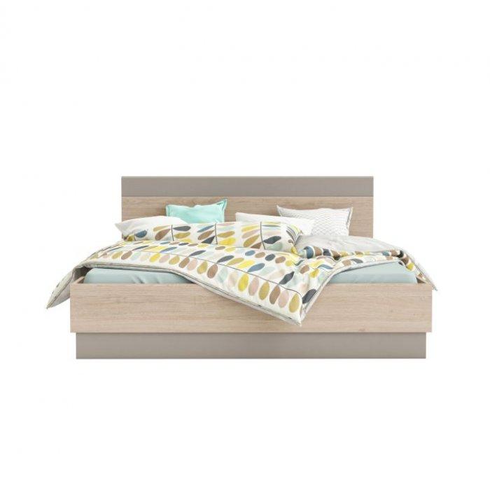 TEMPO KONDELA GRAPHIC TYP 3 160 manželská posteľ - dub arizona / sivá
