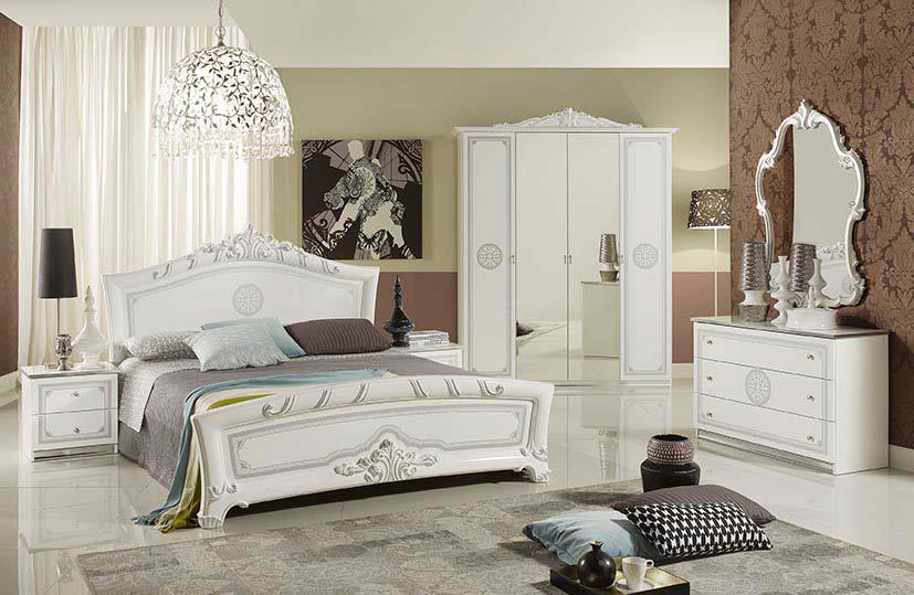 Štýlová talianska spálňa so 6-dverovým šatníkom MARGARET - biela