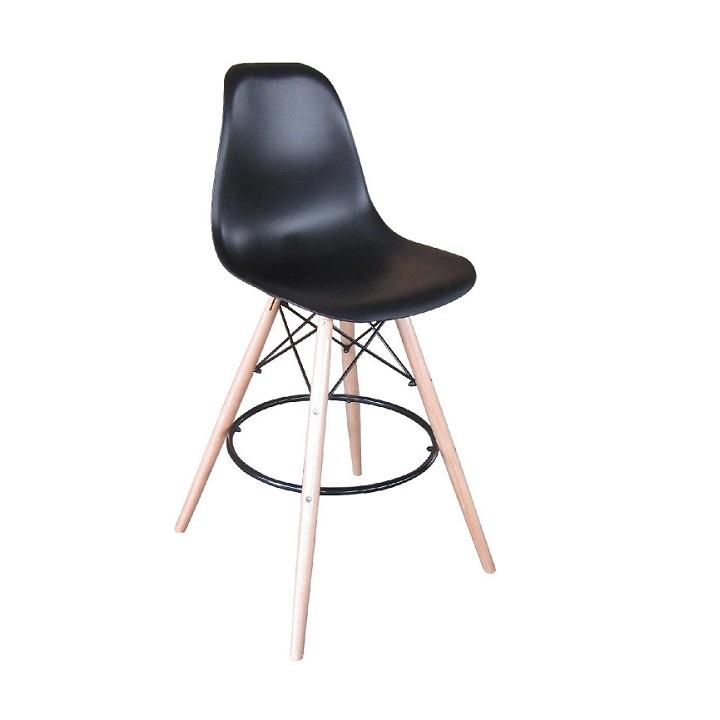 TEMPO KONDELA Barová stolička, čierna/buk, CARBRY