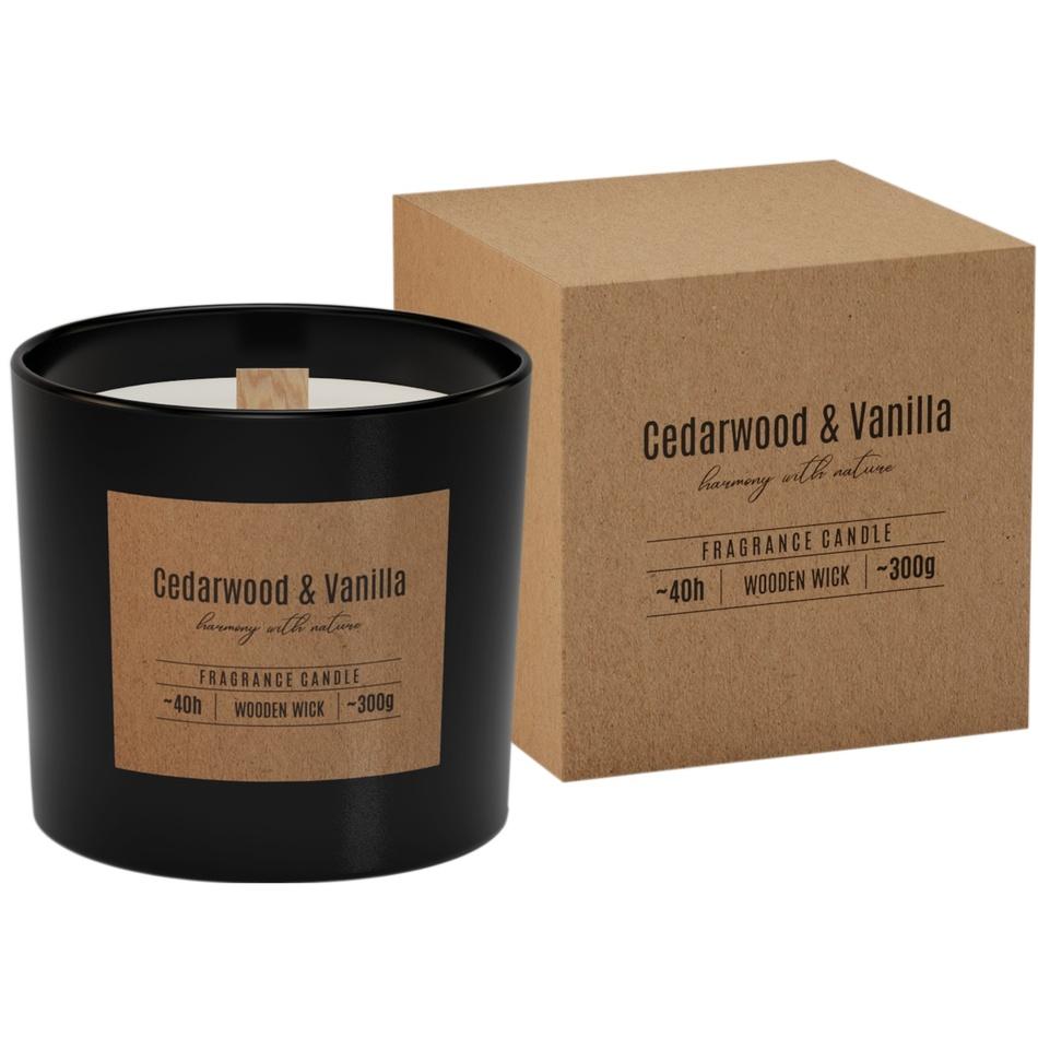 Vonná sviečka v skle s dreveným knôtom Cedarwood & Vanilla 300g, 11 cm
