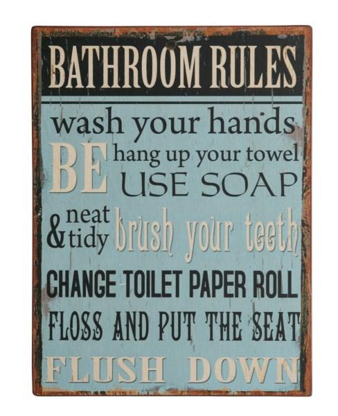 Bighome - Ceduľa BATHROOM RULES ... - modrá