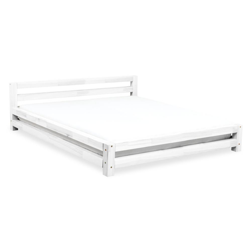 Biela dvojlôžková posteľ zborovicového dreva Benlemi Double, 200x200cm
