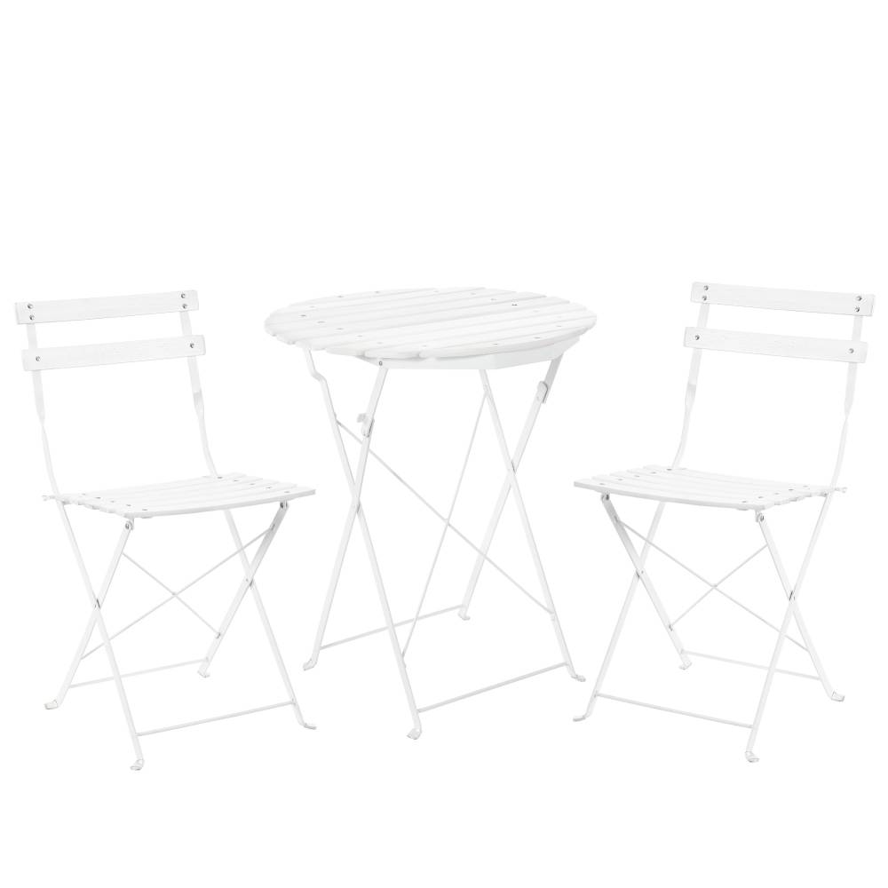 [casa.pro]® Bistro sada - okrúhly stôl + 2 stoličky - biela
