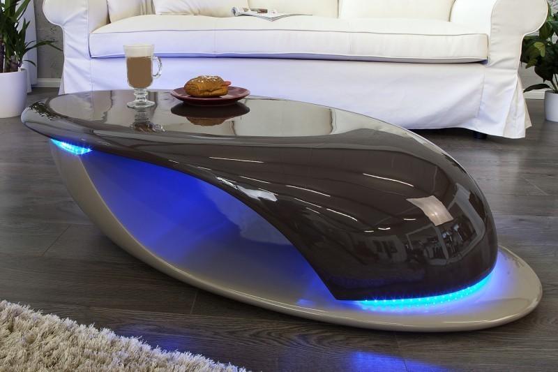 Konferenčný stolík DAFER + LED - antracitová/hnedá