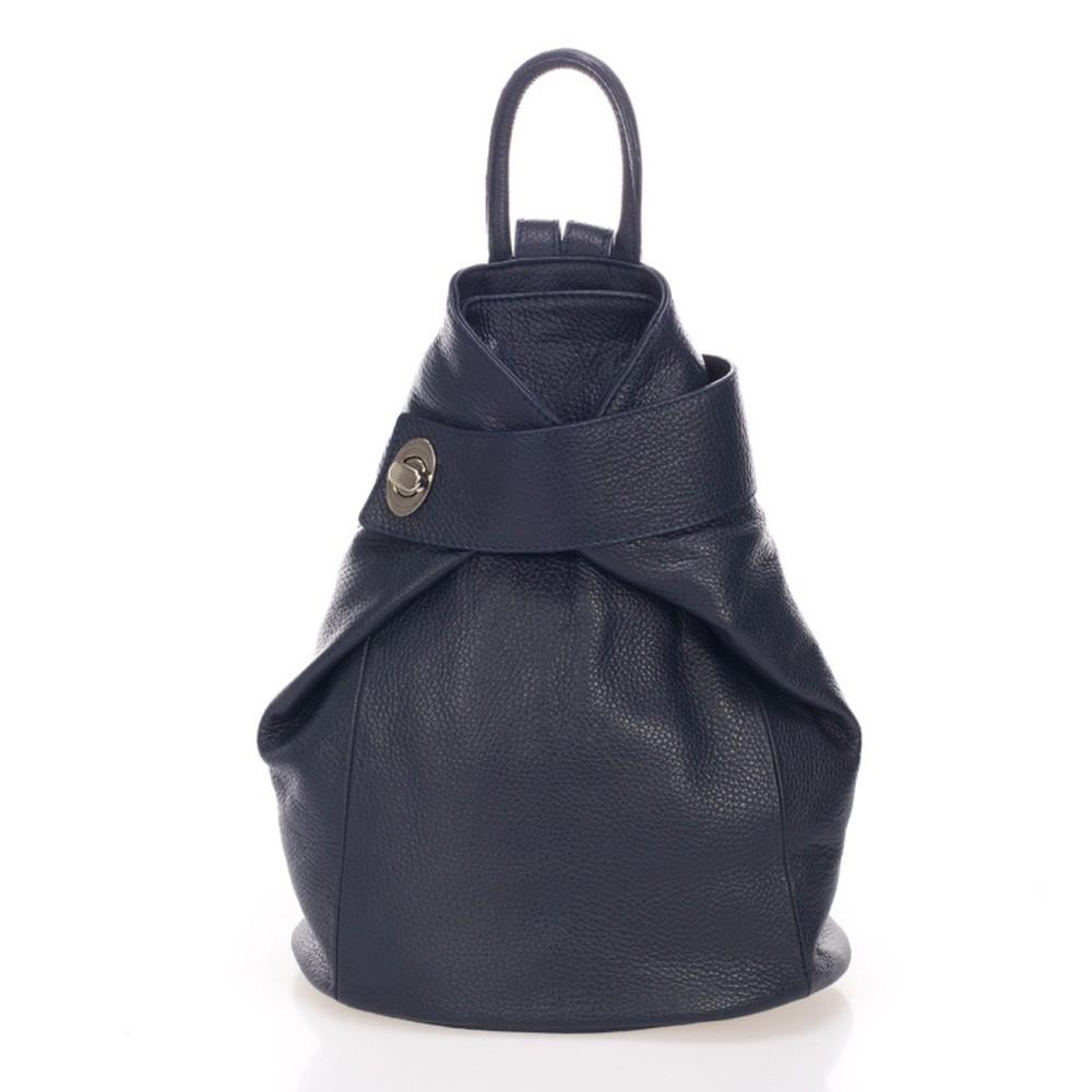 Tmavomodrý kožený batoh Lisa Minardi Narni
