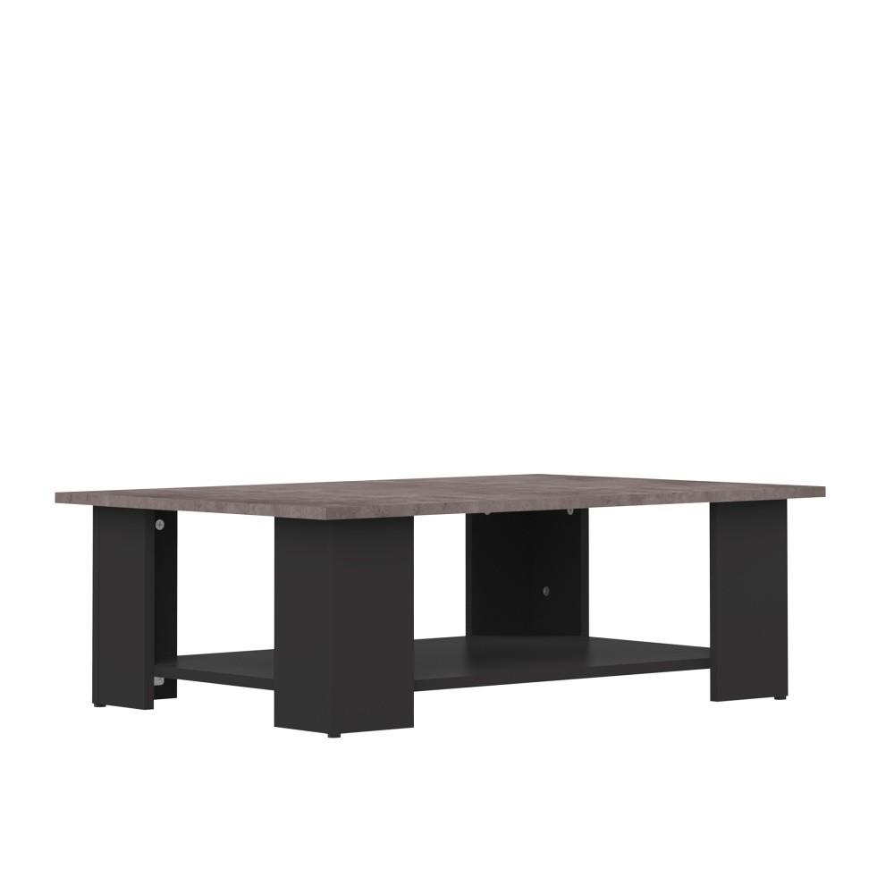Čierny konferenčný stolík s doskou v dekore betóne Symbiosis Square, 89 × 67 cm