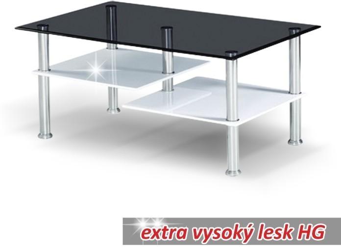 Konferenčný stolík, oceľ/čierne sklo/biela extra vysoký lesk HG, SVEN