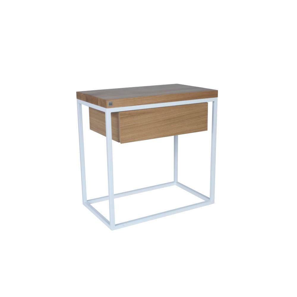 Biely nočný stolík s doskou z dubového dreva Take Me HOME Moonlight, 50×30cm