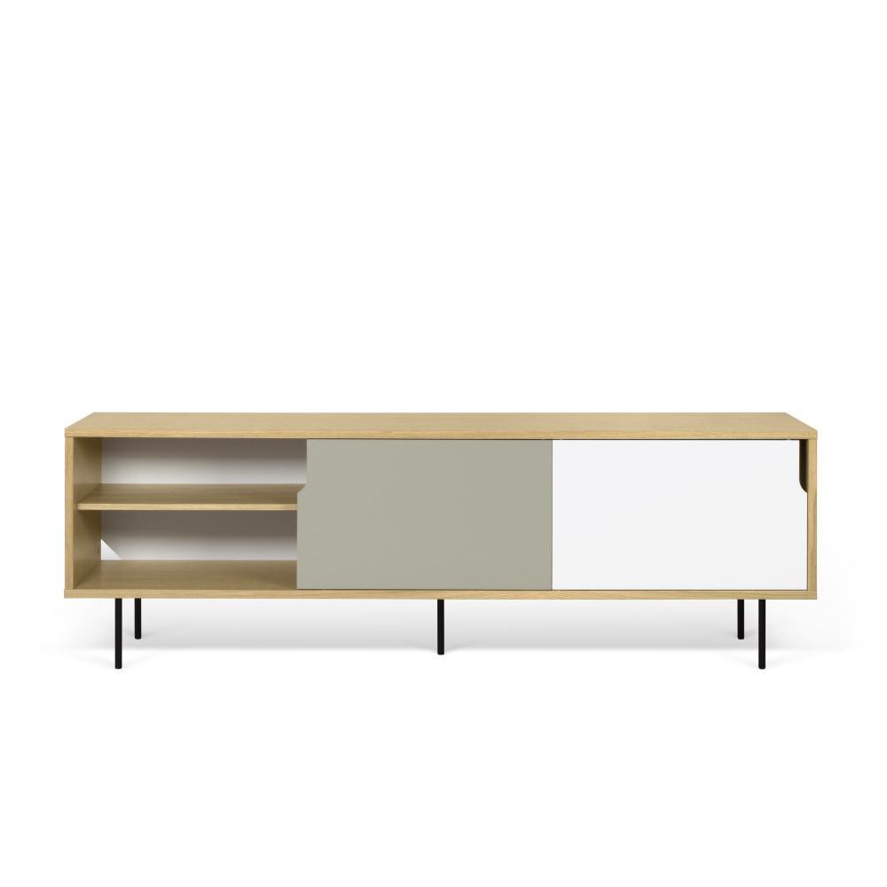TV komoda v dekore dubového dreva s šedo-bielymi detailmi TemaHome Dann, dĺžka 201 cm