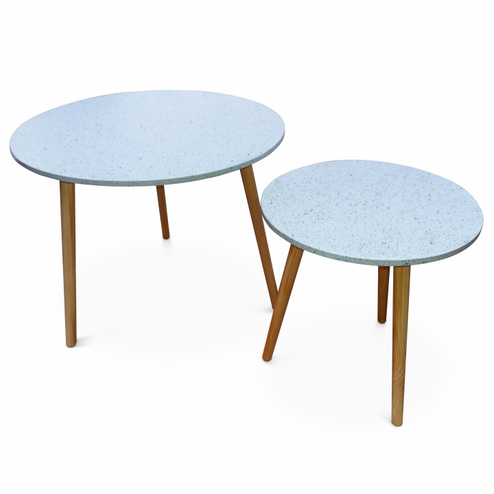 TEMPO KONDELA Set dvoch príručných stolíkov, mramorový efekt/drevo natural, LIRAN 2V1