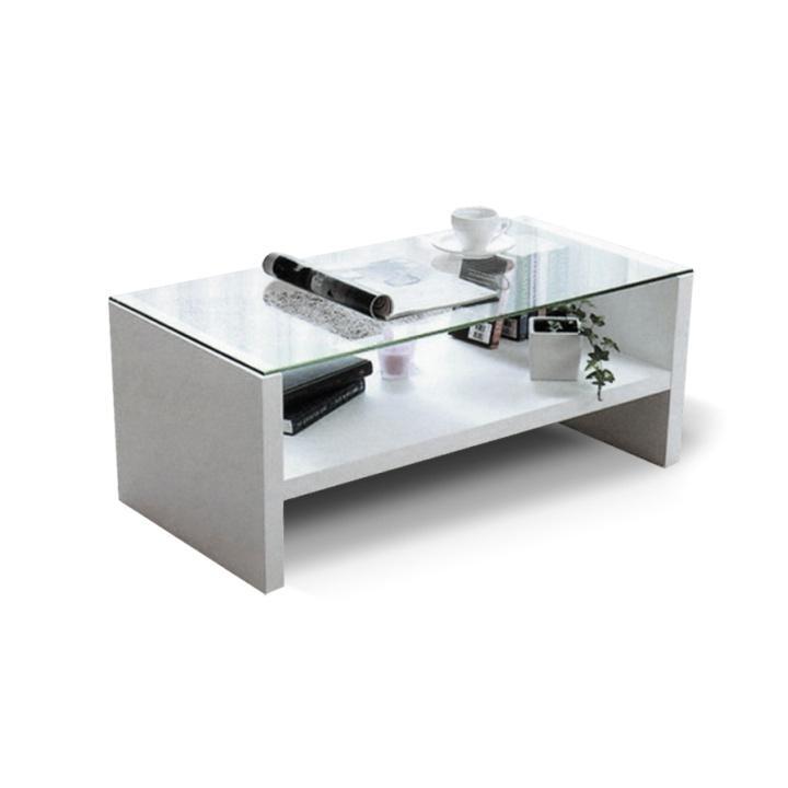 TEMPO KONDELA Konferenčný stolík, sklo/biela, TIBER NEW