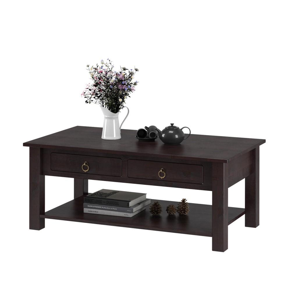 Tmavohnedý konferenčný stolík z borovicového dreva Støraa Inda