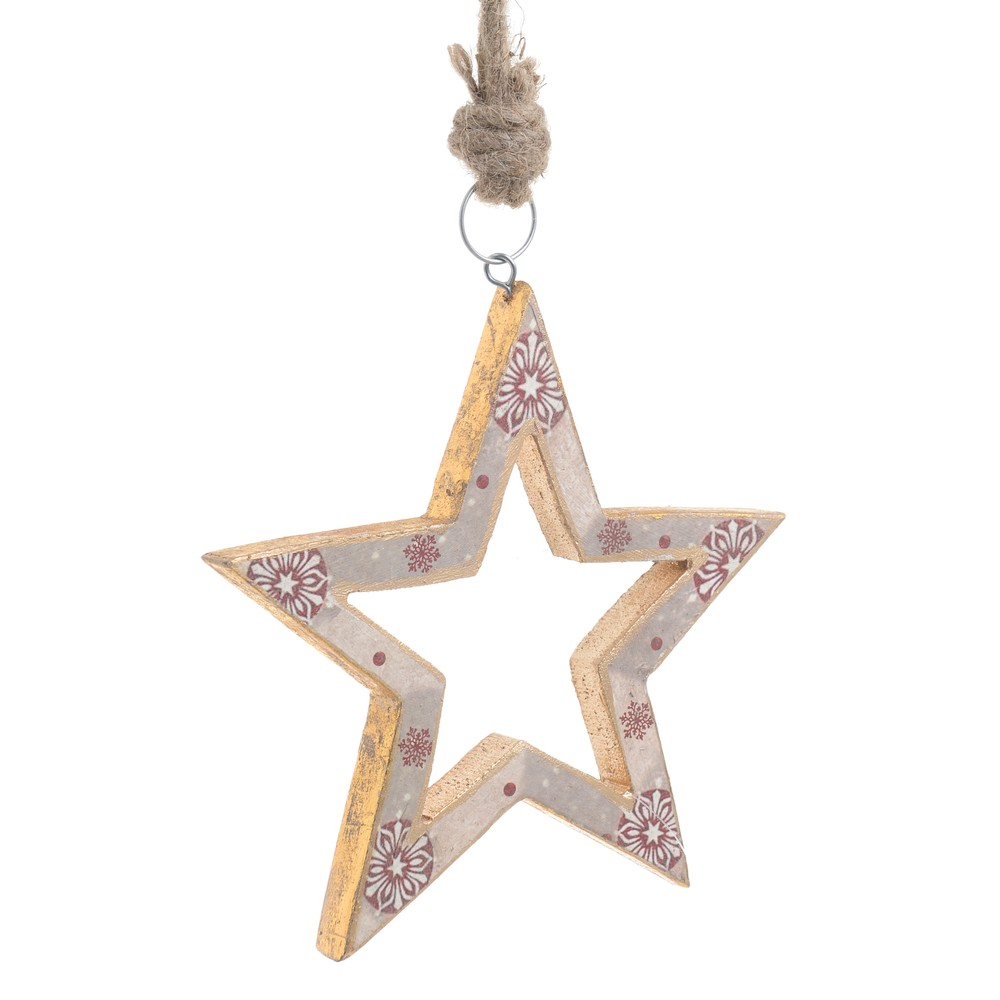 Vianočná drevená závesná dekorácia v tvare hviezdy InArt Alice