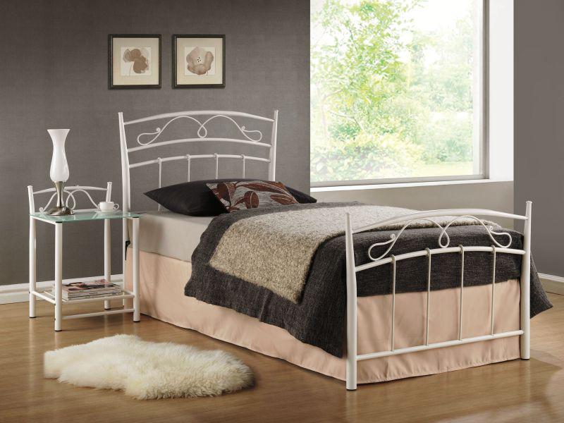 Jednolôžková posteľ 90 cm Siena biela (s roštom)