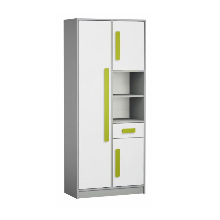 Skriňa - regál, sivá/biela/zelená, PIERE P03