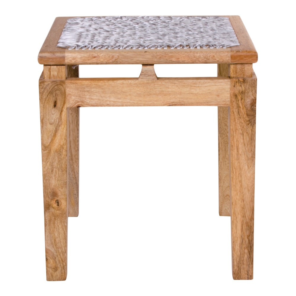 Stolička z mangového dreva so svetlosivým sedákom House Nordic